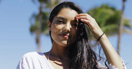 Charming pretty girl in tropical sunlight Footage