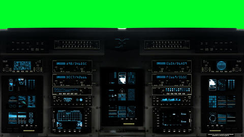 Futuristic Control Bridge on a Spaceship on a Green Screen Background Live Action