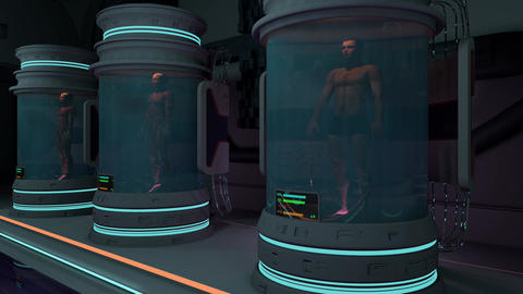 Human Bodies in Hibernation or Cloning Capsules Cinematic 3D Animation 1 Animation
