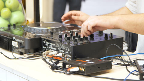 DJ Tunes Music Sound Entertaining People at Party Footage