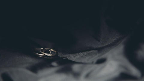 Wedding rings close-up white gold with diamonds Footage