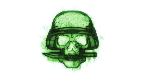 Green Skull with Knife Animated Logo Loopable White Background Animation