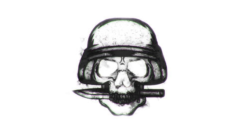 BW Skull with Knife Animated Logo Loopable White Background CG動画素材