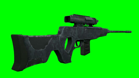 Sniper Hunter Rifle Moves into Scope Aim View on GreenScreen 3D Animation Animation
