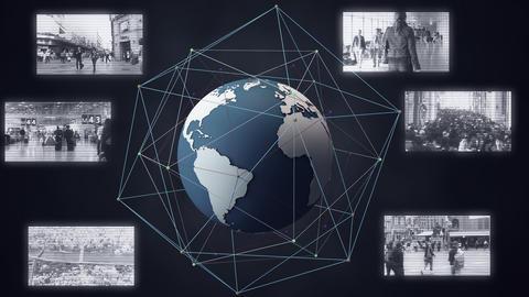 Surveillance Spying Satelite Security Camera System around The Globe 1 Animation