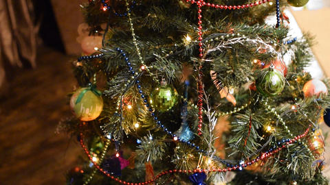 Christmas toys and ornaments on the Christmas tree Footage