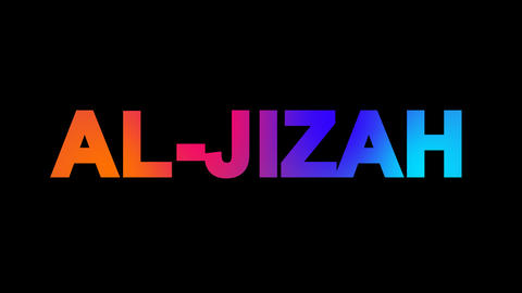 Big city AL-JIZAH multi-colored appear then disappear under the lightning Animation