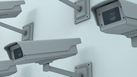 Security Cameras Checking the Area Closeup 3D Animation 1 Animation