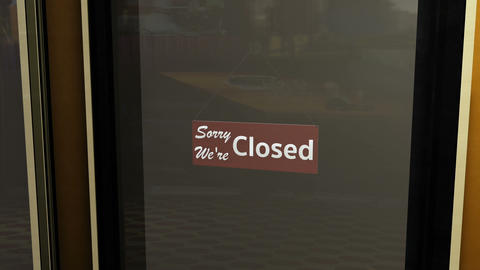 Closed Sign on Shop Restaurant Entrance 2 Animation