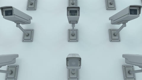 Zoom Out to Many Security Cameras Looking onto the Viewer 3D Animation 1 Animation