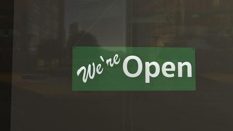 Open Sign on Shop Restaurant Entrance 4 Animation