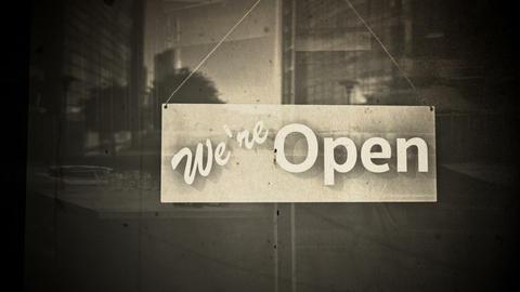 Open Sign on Shop Restaurant Entrance Vintage 3 Animation