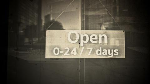 Open Sign on Shop Restaurant Entrance Vintage 5 Animation