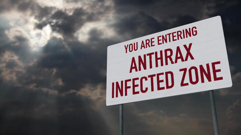 4K Anthrax Warning Sign under Clouds Timelapse Animation