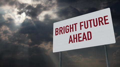 4K Bright Future Ahead Warning Sign under Clouds Timelapse Animation