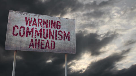 4K Communism Ahead Warning Rusty Sign under Clouds Timelapse Animation