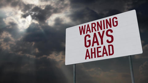 4K Gays Ahead Warning Sign under Clouds Timelapse Animation