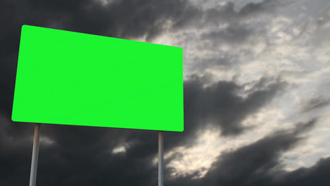 4K Green Screen Warning Pole Sign under Clouds Timelapse 2 Animation