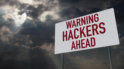 4K Hackers Ahead Warning Sign under Clouds Timelapse Animation