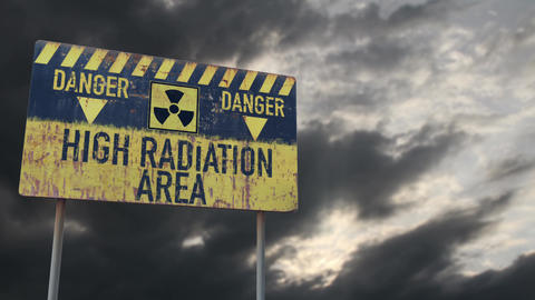 4K High Radiation Area Rusty Sign under Clouds Timelapse Animation