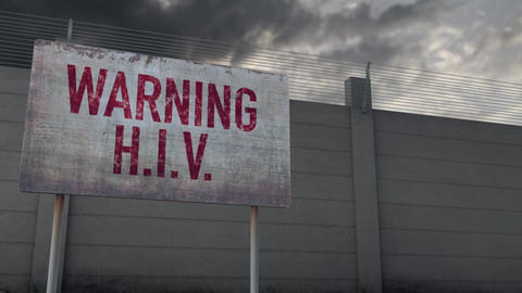 4K HIV Warning and Strong Fence under Clouds Timelapse Animation