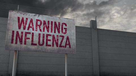 4K Influenza Warning and Strong Fence under Clouds Timelapse Animation