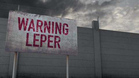 4K Leper Warning and Strong Fence under Clouds Timelapse Animation