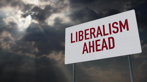 4K Liberalism Ahead Warning Sign under Clouds Timelapse Animation