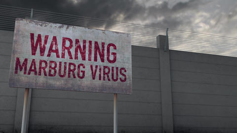 4K Marburg Virus Warning and Strong Fence under Clouds Timelapse Animation