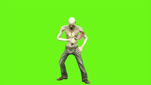 Zombie attacks - seperated on green screen. Loopable. 4k Animation