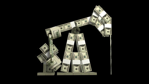 Oil derrick made of dollar wads Stock Video Footage
