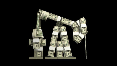 Oil derrick made of dollar wads Animation