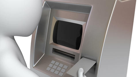 3d man is inserting the credit card into a ATM mac Stock Video Footage