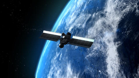 Satellite is orbiting the Earth Animation