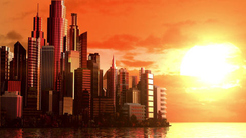 City at sunrise Stock Video Footage