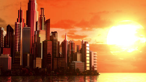 City at sunrise Animation