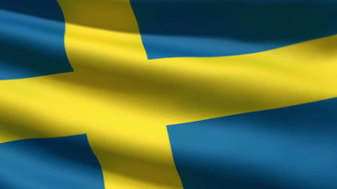 Swedish flag Stock Video Footage