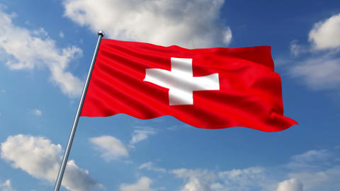 Swiss flag waving against time-lapse clouds background Animation