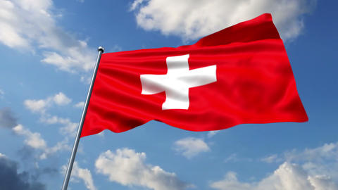 Swiss flag waving against time-lapse clouds background Stock Video Footage