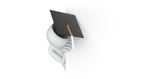 Thumbs Up! 3d man in the university graduation cap Stock Video Footage