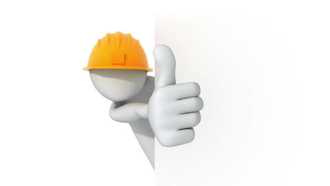 Thumbs Up! 3d man in a hard hat Animation