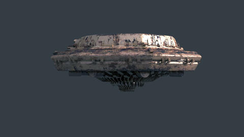 Ufo, loopable 3d animation with alpha-matte Stock Video Footage
