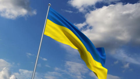 Ukrainian flag waving against time-lapse clouds background Stock Video Footage