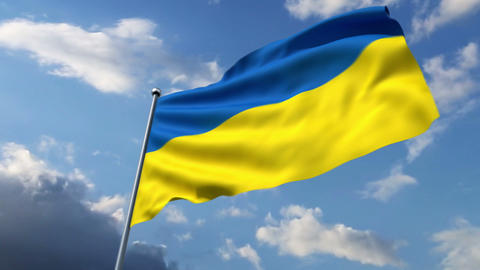 Ukrainian flag waving against time-lapse clouds background Animation