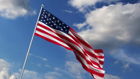 USA flag waving against time-lapse clouds background Stock Video Footage