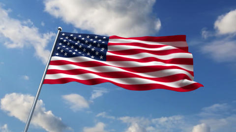 USA flag waving against time-lapse clouds background Animation