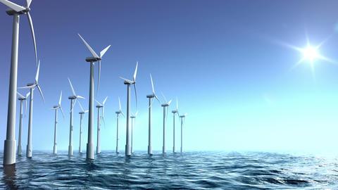 Wind turbines farm in the sea Stock Video Footage