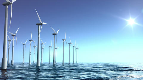 Wind turbines farm in the sea Animation