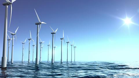 Wind turbines farm in the sea Animation