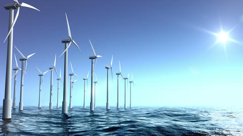 Wind turbines farm in the sea Stock Video Footage